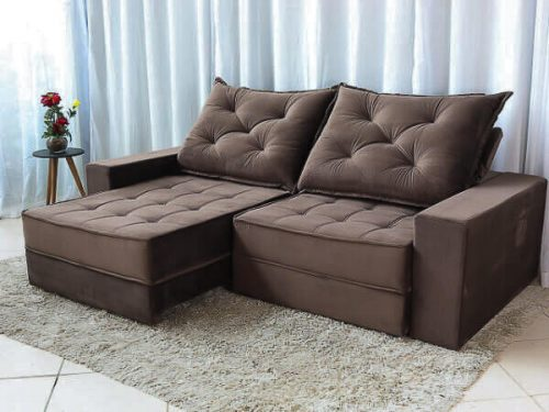 Sofa Retratil Reclinavel Berlim 2.30m Molas Ensacadas Marrom 815 Evidence 4 1