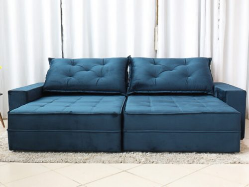 Sofa Retratil Reclinavel Berlim 2.90m Molas Ensacadas Azul 800 2 e1598639723478