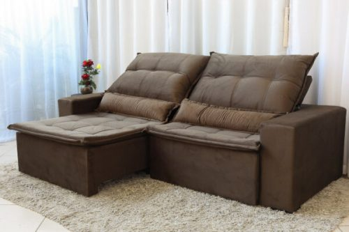 Sofa Retratil Reclinavel Egito 2.50m Molas Bonnel Marrom B11 Uniao 3 e1598638235156