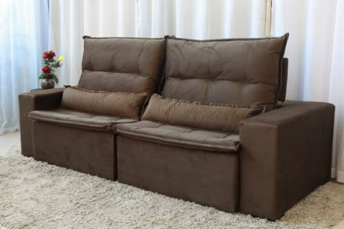 Sofa Retratil Reclinavel Egito 2.50m Molas Bonnel Marrom B11 Uniao 4 e1598638207214