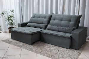 Sofa Retratil Reclinavel Egito 2.90m Molas Bonnel Sued Cinza B2 2