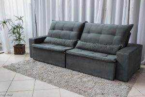 Sofa Retratil Reclinavel Egito 2.90m Molas Bonnel Sued Cinza B2 3