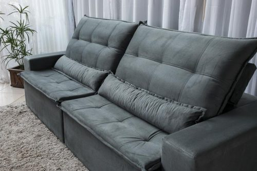 Sofa Retratil Reclinavel Egito 2.90m Molas Bonnel Sued Cinza B2 4