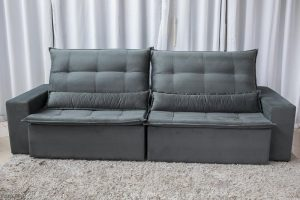 Sofa Retratil Reclinavel Egito 2.90m Molas Bonnel Sued Cinza B2 5
