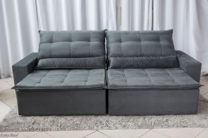 Sofa Retratil Reclinavel Egito 2.90m Molas Bonnel Sued Cinza B2 6