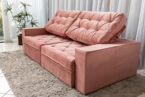 Sofa Retratil Reclinavel Lisboa 2.50m Rosa 816 3