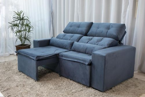 Sofa Retratil e Reclinavel 3 Lugares Carol Azul 11