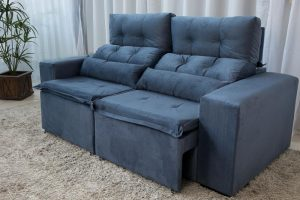 Sofa Retratil e Reclinavel 3 Lugares Carol Azul 14