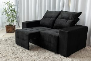 Sofa Retratil e Reclinavel Paris 1.70m Molas Bonnel Preto B20 2