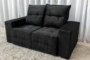 Sofa Retratil e Reclinavel Paris 1.70m Molas Bonnel Preto B20 4