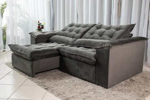 Sofa Retratil Reclinavel 2.30m Ipanema Veludo Cinza 533 2