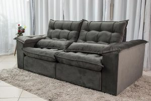 Sofa Retratil Reclinavel 2.30m Ipanema Veludo Cinza 533 3