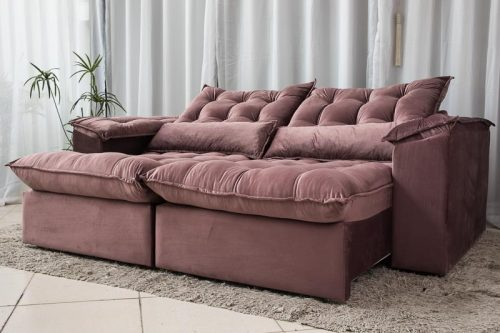 Sofa Retratil Reclinavel 2.30m Ipanema Veludo Vinho 534 9