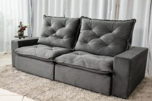 Sofa Retratil Reclinavel 2.50m Modelo 5010 Veludo Cinza 815 4
