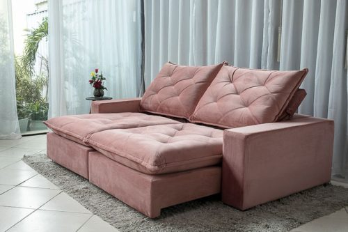 Sofa-Retratil-Reclinavel-2.50m-Modelo-5010-Veludo-Rosa
