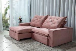 Sofa Retratil Reclinavel 2.50m Modelo 5010 Veludo Rosa 816 7