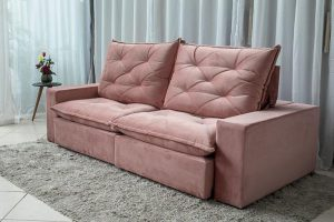 Sofa Retratil Reclinavel 2.50m Modelo 5010 Veludo Rosa 816 8
