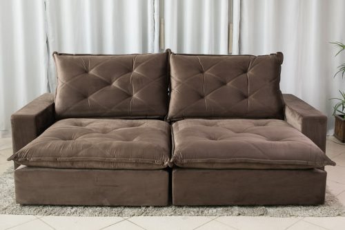 Sofa Retratil Reclinavel 2.90m Modelo 5012 Marrom 6