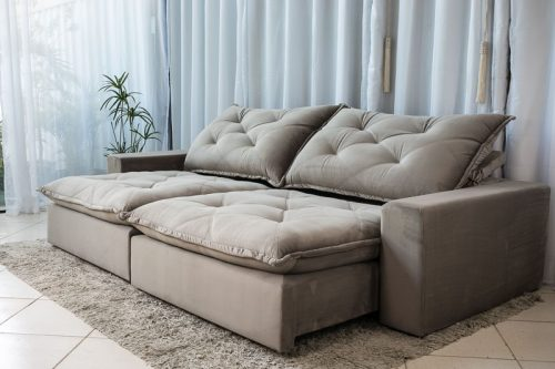 Sofa Retratil Reclinavel 2.90m Modelo 5012 Veludo Cinza 813 1