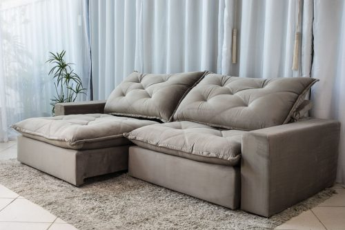 Sofa Retratil Reclinavel 2.90m Modelo 5012 Veludo Cinza 813 7