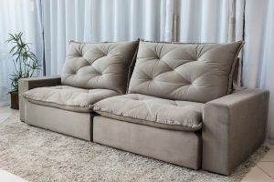Sofa Retratil Reclinavel 2.90m Modelo 5012 Veludo Cinza 813 8
