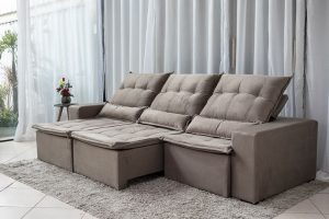 Sofa Retratil Reclinavel Egito 2.90m Molas Bonnel Bege B09 1