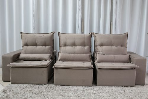 Sofa Retratil Reclinavel Egito 2.90m Molas Bonnel Bege B09 4
