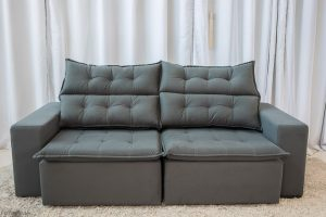 Sofa Retratil Reclinavel Carioca 2.10m Molas Bonnel Sued Cinza 96
