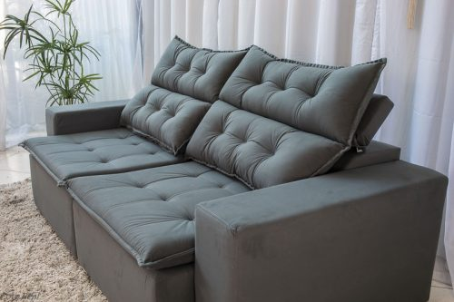 Sofa Retratil Reclinavel Carioca 2.10m Molas Bonnel Sued Cinza 96 8