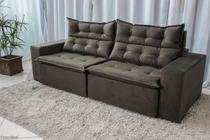 Sofa Retratil Reclinavel Carioca 2.10m Molas Bonnel Sued Marrom 11 18