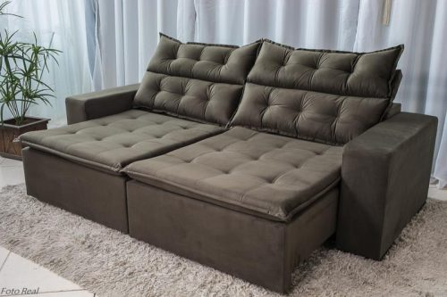 Sofa Retratil Reclinavel Carioca 2.10m Molas Bonnel Sued Marrom 11
