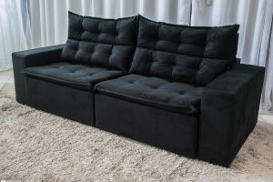 Sofa Retratil Reclinavel Carioca 2.10m Molas Bonnel Sued Preto 15