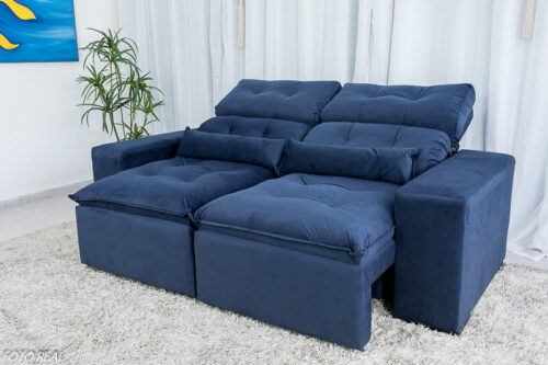 Sofa Retratil Reclinavel Duda 2.00m Sued Azul 20 1