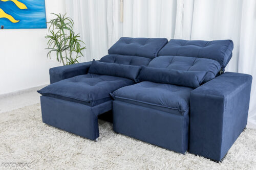 Sofa Retratil Reclinavel Duda 2.00m Sued Azul 22 1