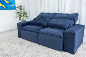 Sofa Retratil Reclinavel Duda 2.00m Sued Azul 23 1
