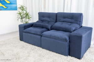Sofa Retratil Reclinavel Duda 2.00m Sued Azul 24 1
