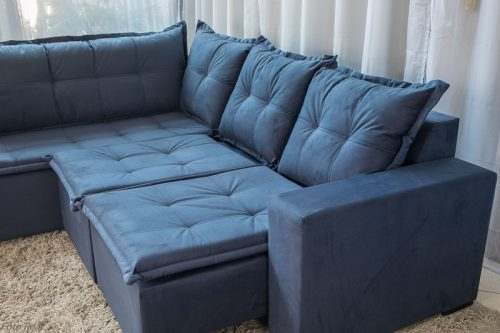 Sofa de Canto Retratil Denver 10 Sued Azul 3