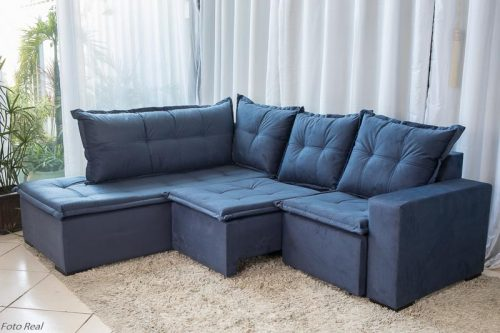 Sofa de Canto Retratil Denver 10 Sued Azul 4