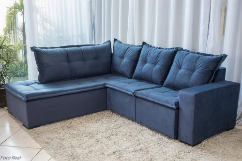Sofa de Canto Retratil Denver 10 Sued Azul 5