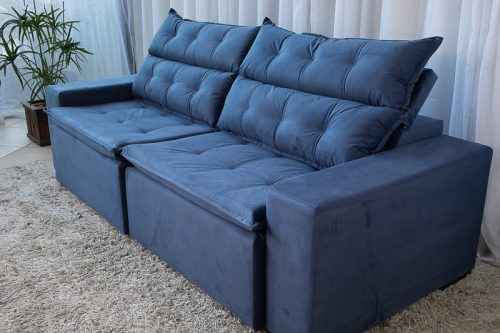 Sofa Retratil Reclinavel Carioca 2.30m Molas Bonnel Sued Azul 10 4