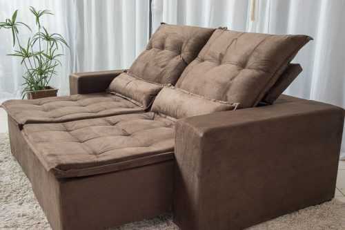 Sofa Retratil Reclinavel Egito 2.10m Molas Bonnel Marrom B03 23