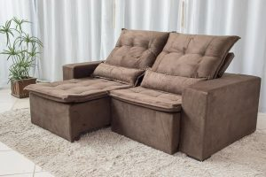 Sofa Retratil Reclinavel Egito 2.10m Molas Bonnel Marrom B03 24