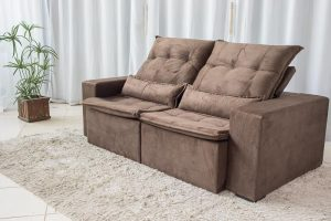 Sofa Retratil Reclinavel Egito 2.10m Molas Bonnel Marrom B03 25