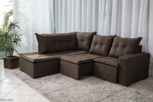 Sofa de Canto Retratil Denver Sued Marrom 11 1