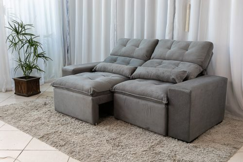 Sofa Retratil Reclinavel Duda 2.00m Cinza 2