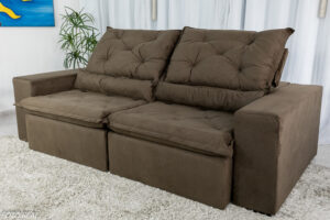 Sofa Retratil Reclinavel Leblon 2.30m Sued Marrom 15