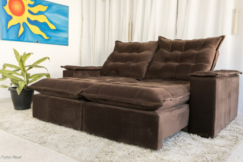 Sofa Retratil Reclinavel Atenas 2.10m Veludo Marrom 815 1