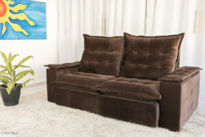 Sofa Retratil Reclinavel Atenas 2.10m Veludo Marrom 815 4 1