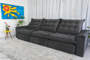 Sofa Retratil Reclinavel Atenas 3.20m Veludo Cinza 814 8