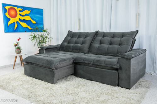 Sofa Retratil Reclinavel Atenas 2.50m Veludo Cinza 814 D33 Soft 3
